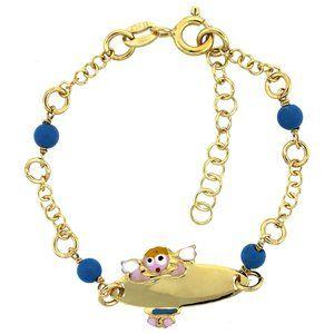Gold platedr Rolo Link Baby ID Bracelet blue